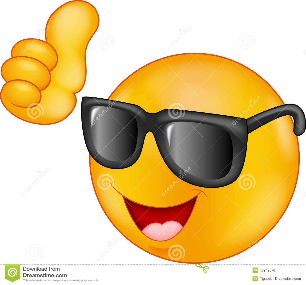 smiling emoticon wearing sunglasses giving thumb up stock vector