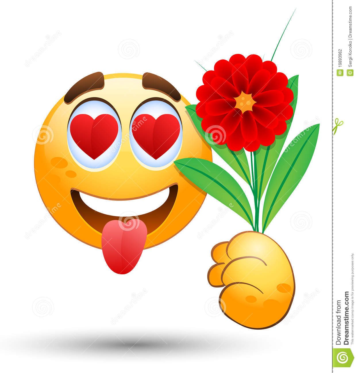 Mazzo Di Fiori Emoticon.Smiling Face With Bunch Of Flowers In The Hand Stock Vector