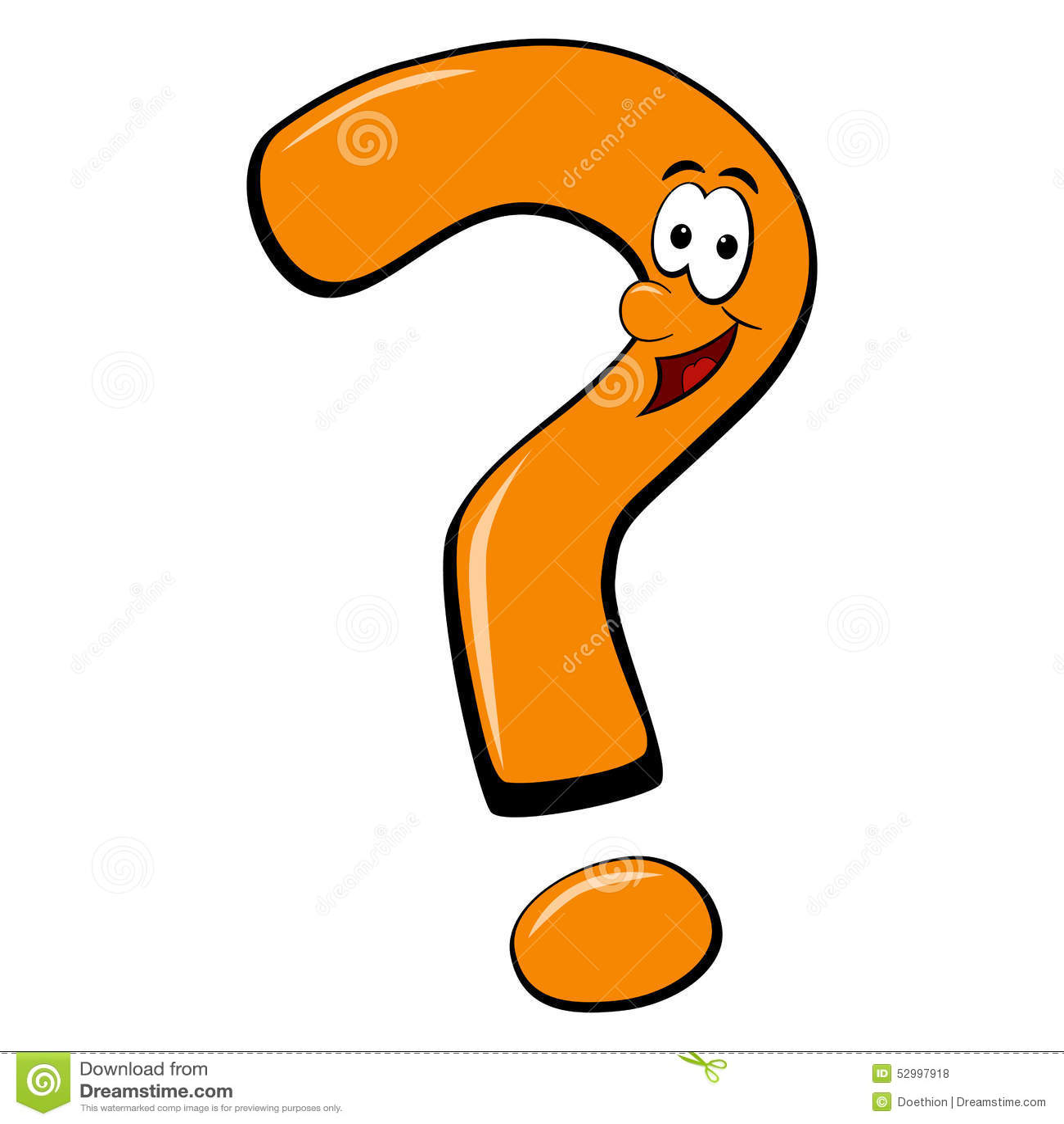 Smiling Faced Cartoon Question Mark Stock Vector Illustration Of