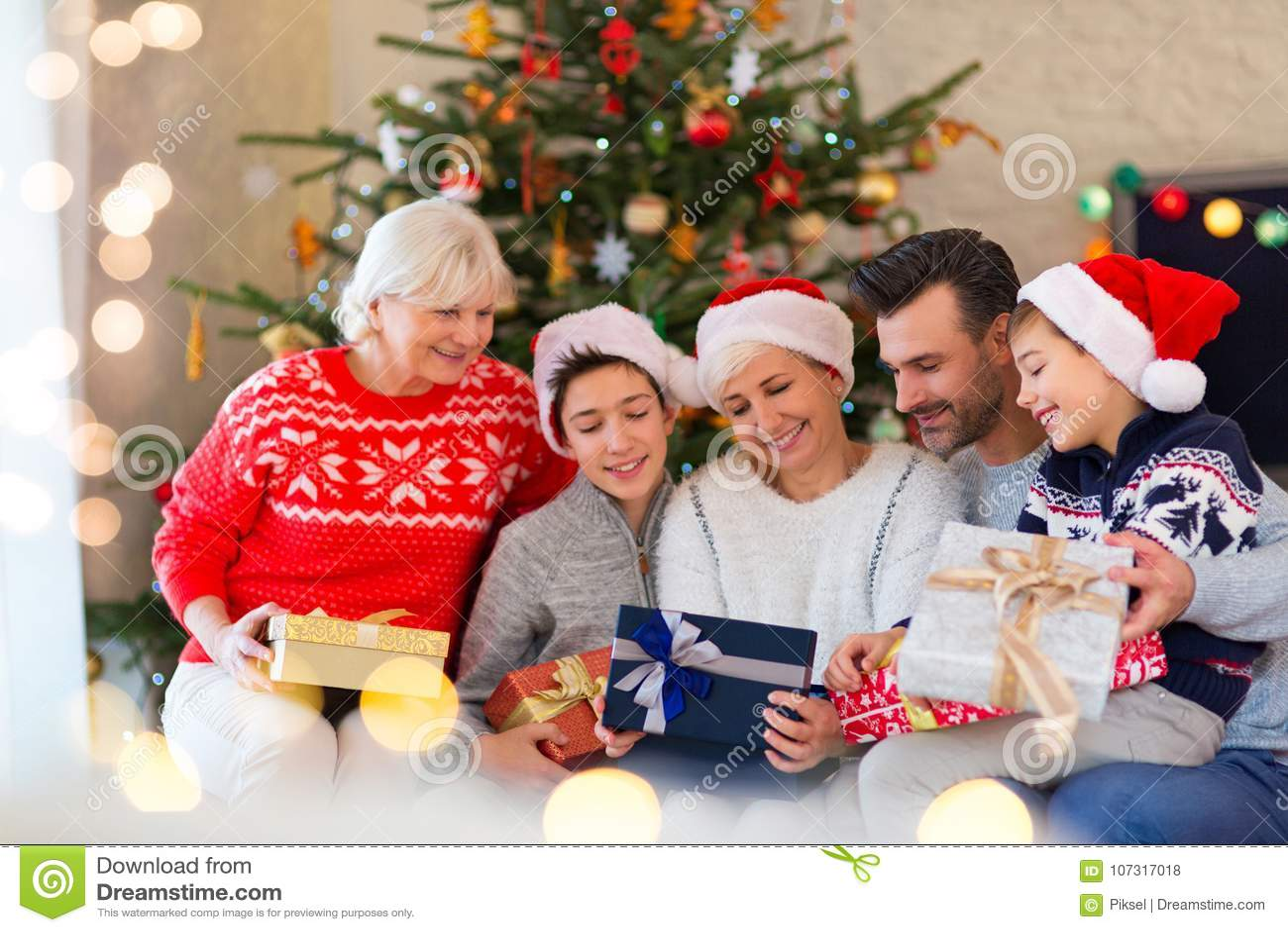 download family with christmas presents stock photo image of christmas grandma 107317018