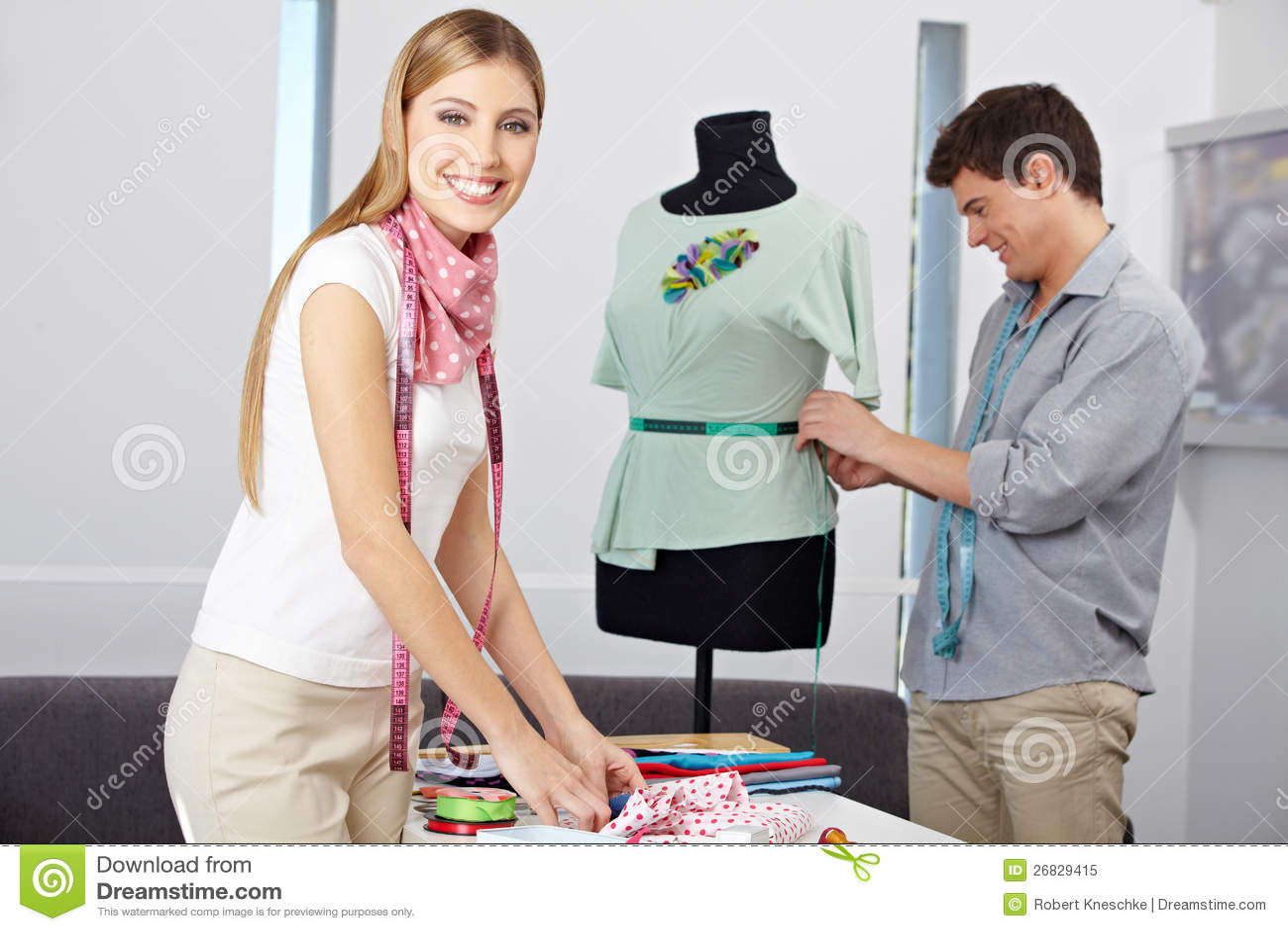 Smiling Fashion Designer In Studio Stock Image Image Of Fashion Employee 26829415
