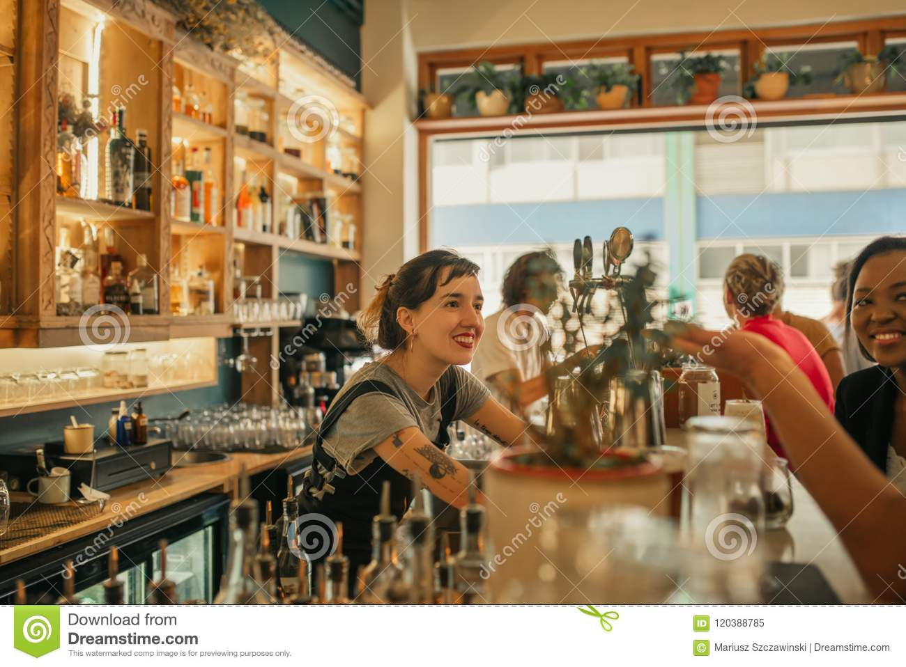 Smiling female bartender talking with customers at a bar counter