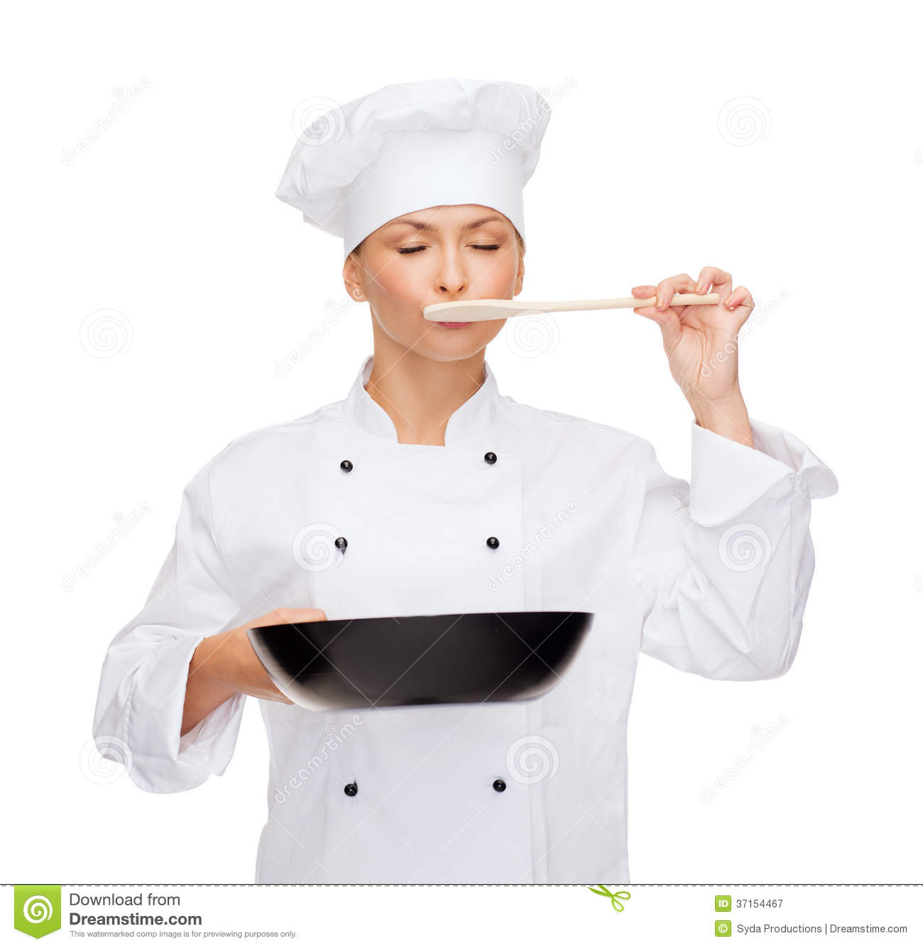 Smiling Female Chef With Pan And Spoon Royalty Free Stock Photography Image 37154467