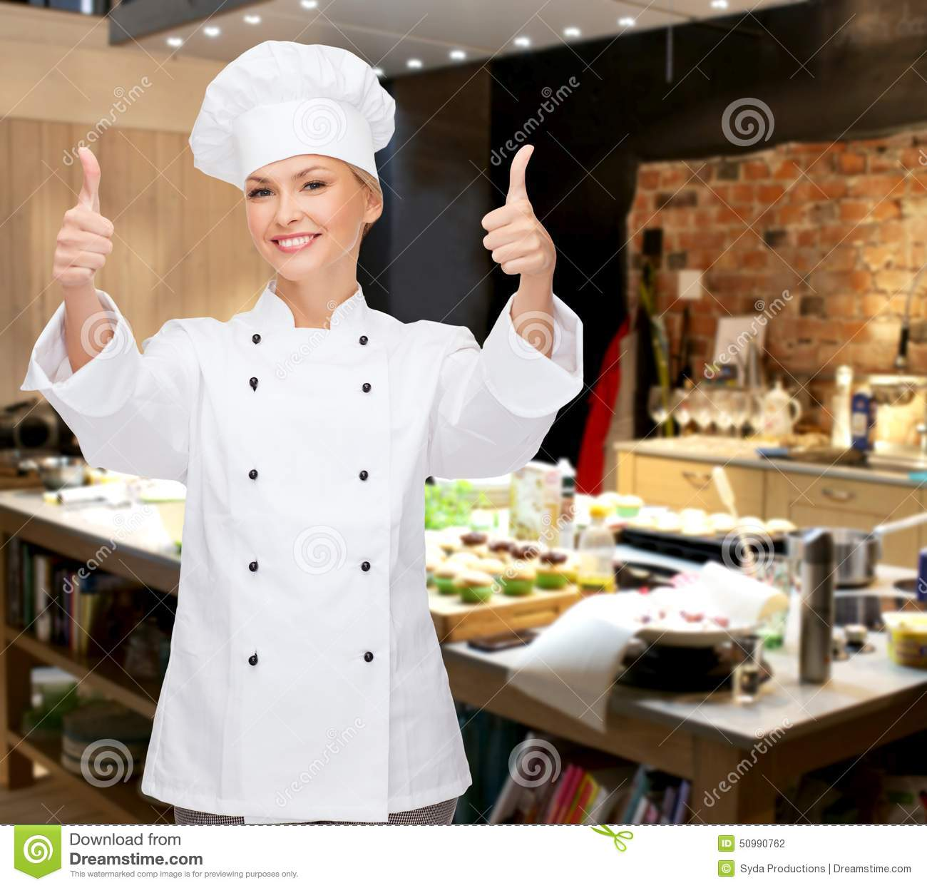 smiling female chef showing thumbs up stock photo image of approve cook 50990762. Black Bedroom Furniture Sets. Home Design Ideas