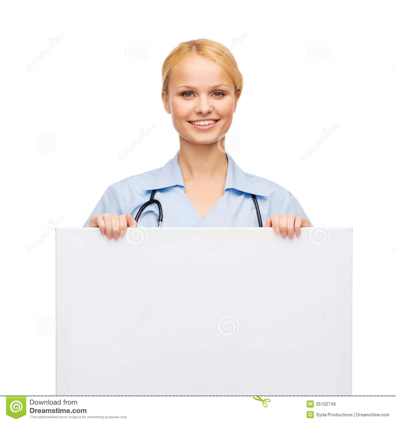 Smiling Female Doctor Or Nurse With Blank Board Royalty
