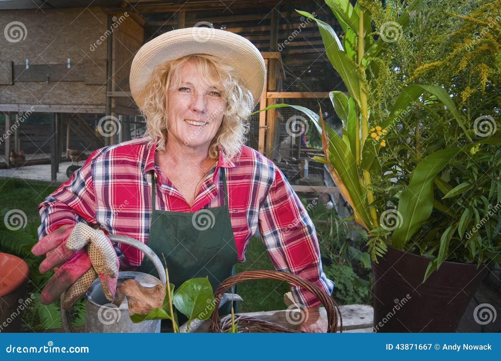 Smiling Female Gardener Stock Photo Image 43871667