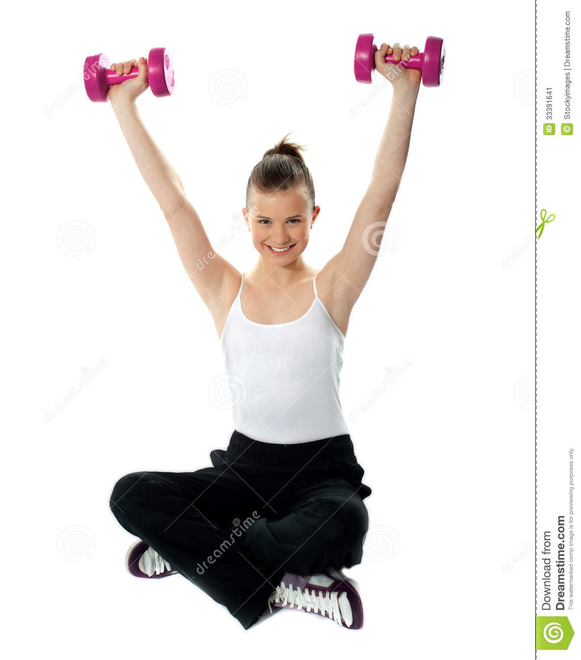 Fit Ladies Who Work Out And Have: Smiling Fit Girl Working Out With Dumbbells Stock Image