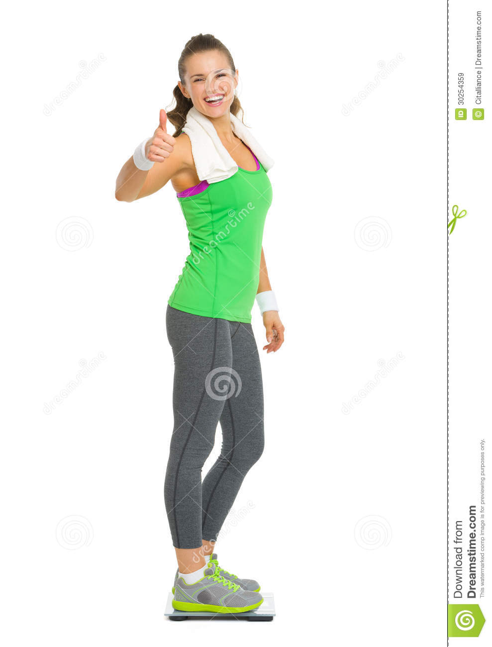 Smiling Fitness Young Woman Standing On Scales Stock Image ...