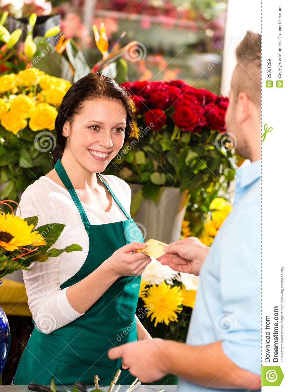 Buying A Full Face Snorkel Mask Reviews Of Full Face: Smiling Florist Man Customer Buying Flowers Card Royalty