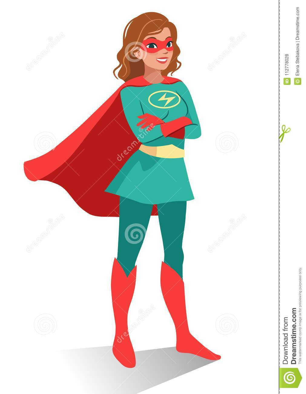 Smiling friendly confident young Caucasian woman in superhero co