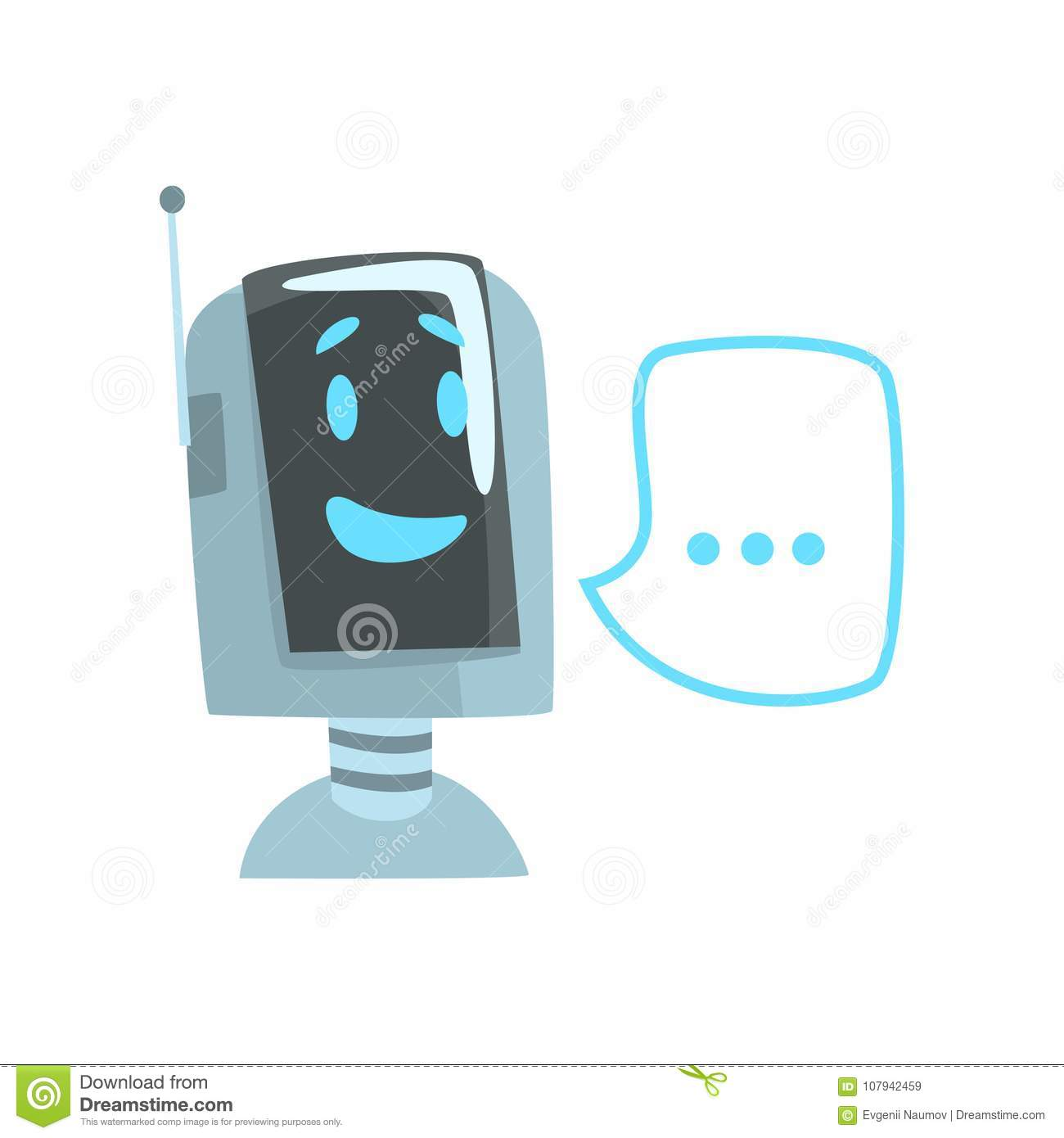 Smiling Funny Robot And Speech Bubble, Voice Support Service Chat
