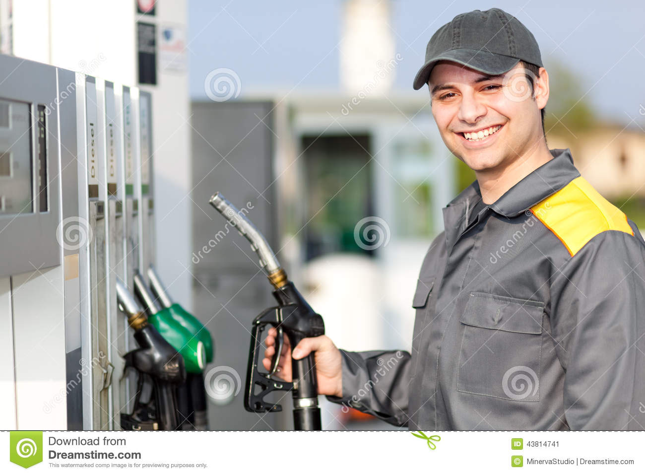 Smiling Gas Station Worker At Work Stock Photo - Image: 43814741