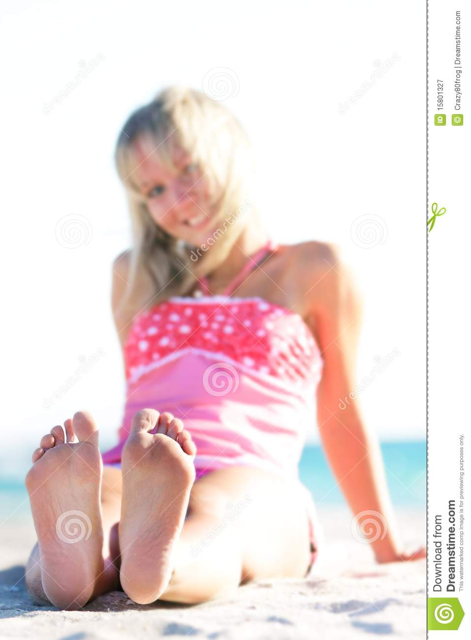 young feet Smiling Girl On Beach, Focus On Feet Royalty Free Stock .