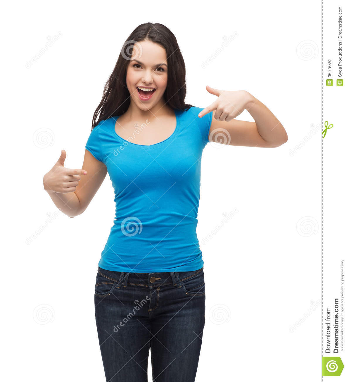 Smiling Girl In Blank Blue T Shirt Stock Photography