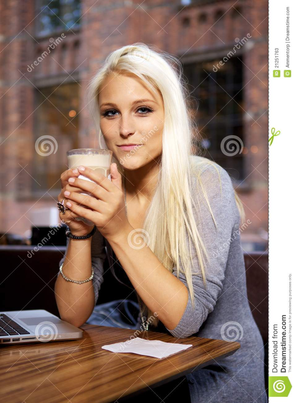 Video Girl Dress: Smiling Girl On Cafe Stock Image. Image Of Computer