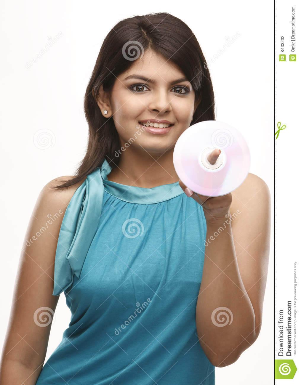 Smiling girl with the CD