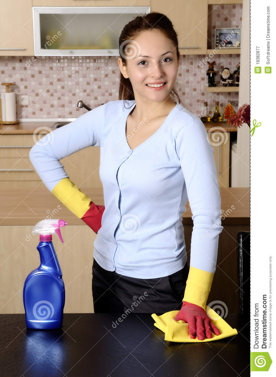Smiling Girl Cleaning The House Royalty Free Stock
