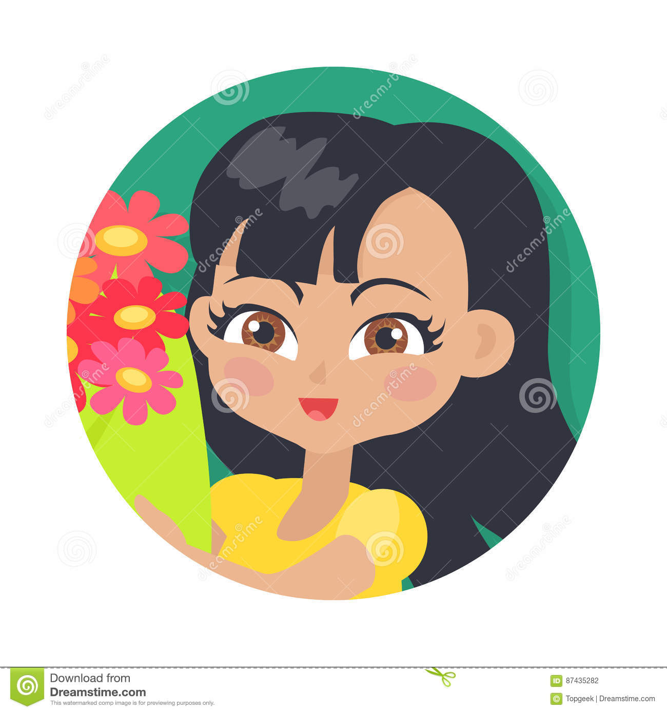 Smiling Girl With Colourful Flowers Black Hair Vector