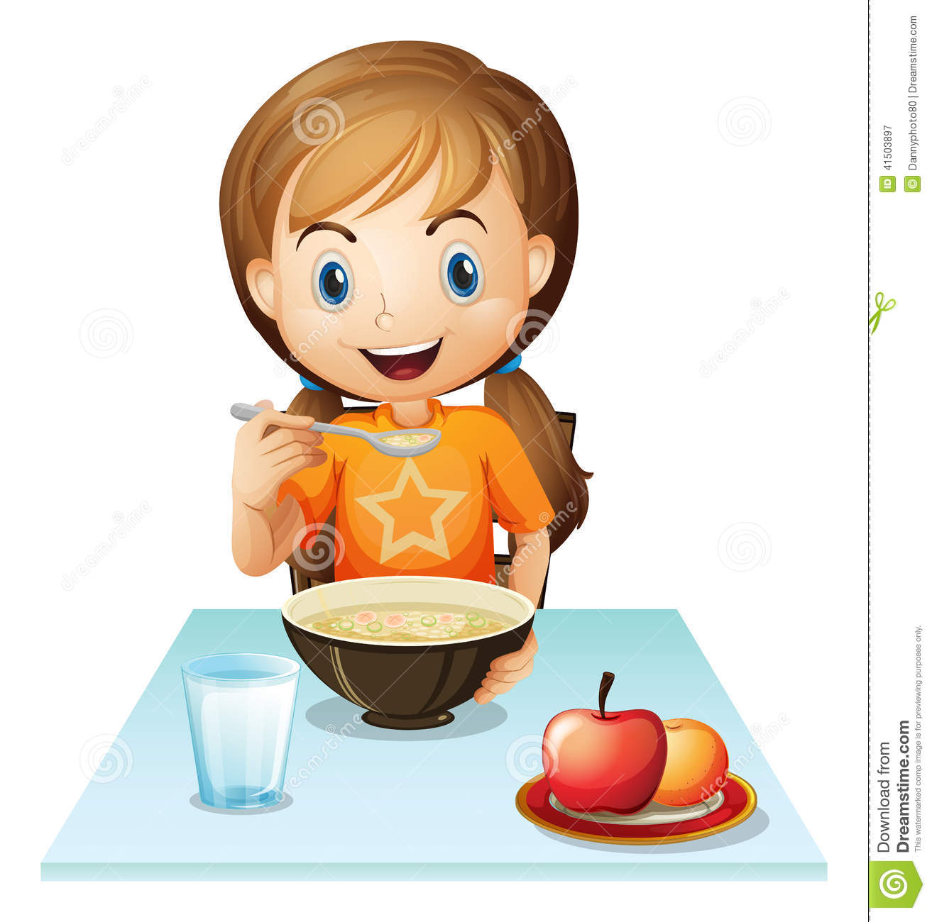 Illustration of a smiling girl eating her breakfast on a white ...