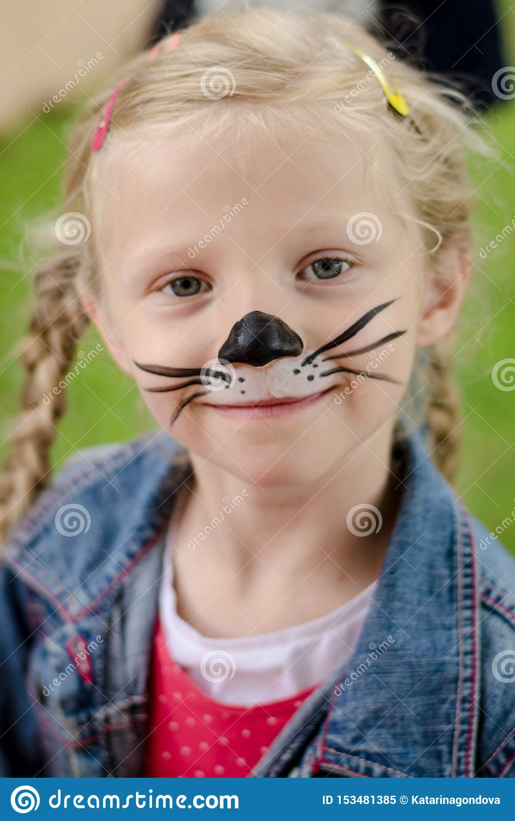Smiling Girl With Face Painting Of Mouse Stock Image Image Of Face Funny 153481385