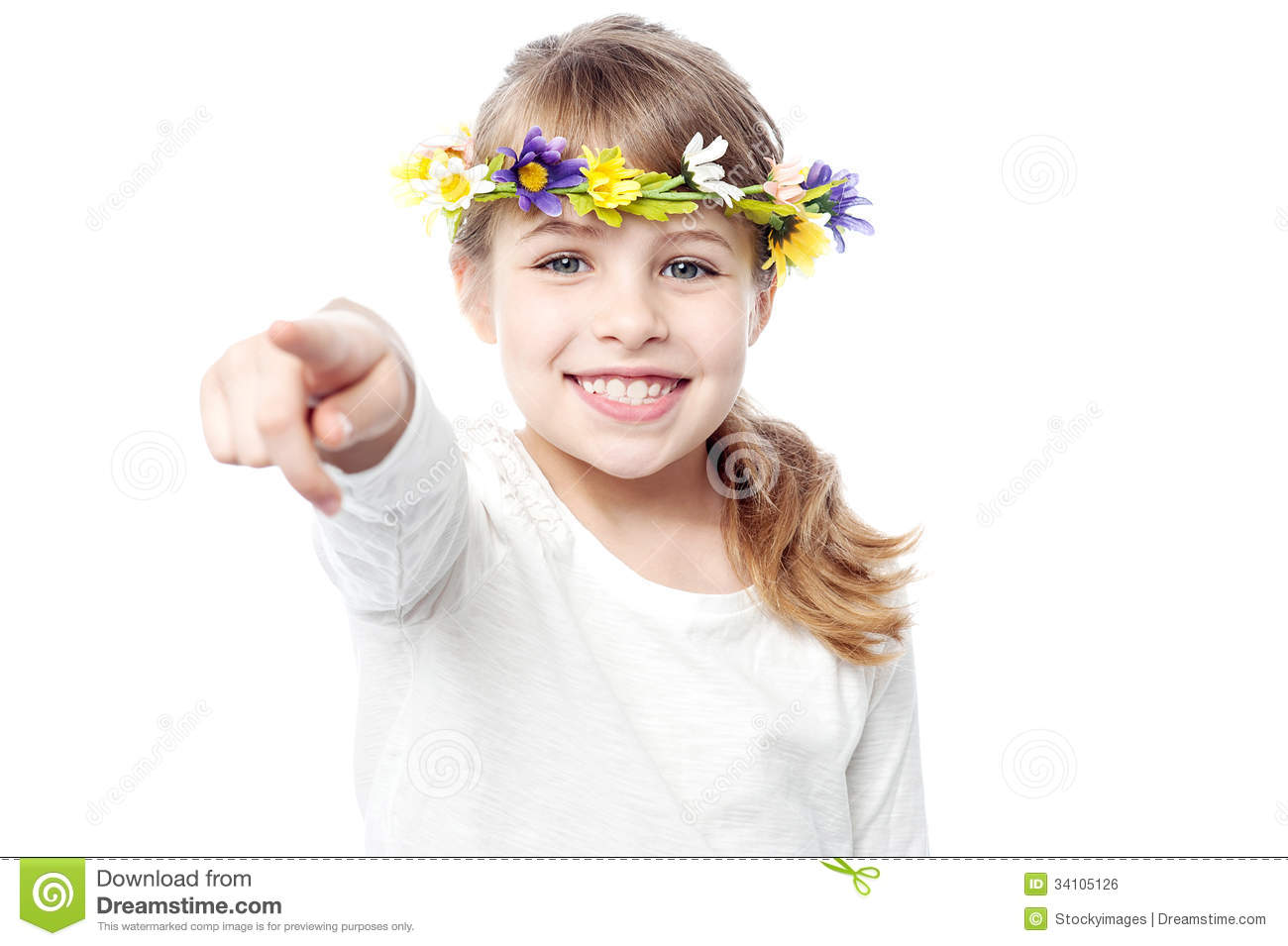Smiling Girl With Flower Crown Stock Photo