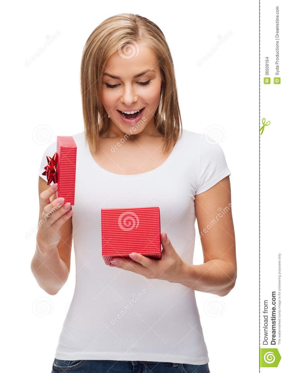 Smiling girl with gift box