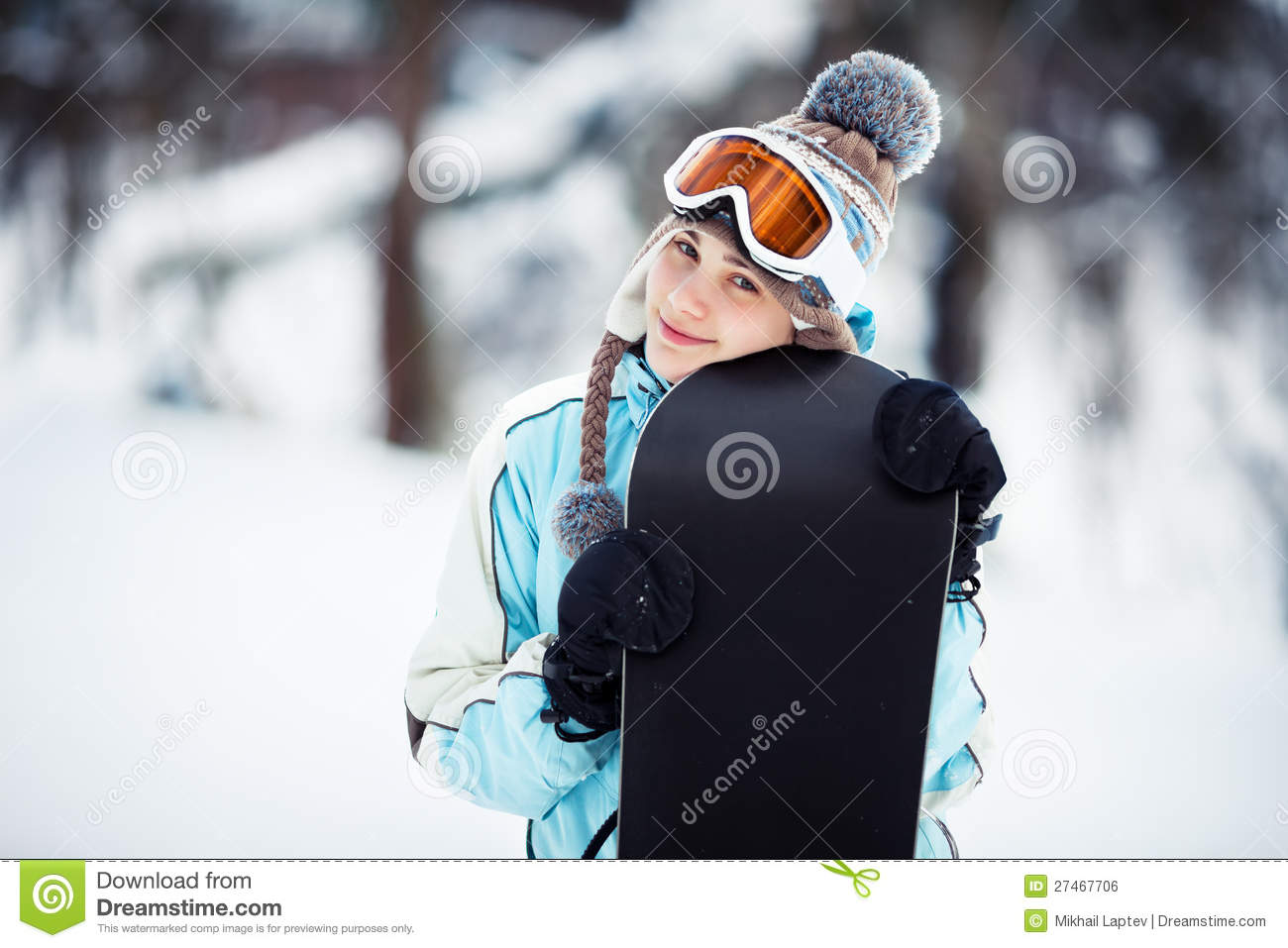 046167a1a3 Smiling Girl Holding Her Snowboard Stock Photo - Image of close ...