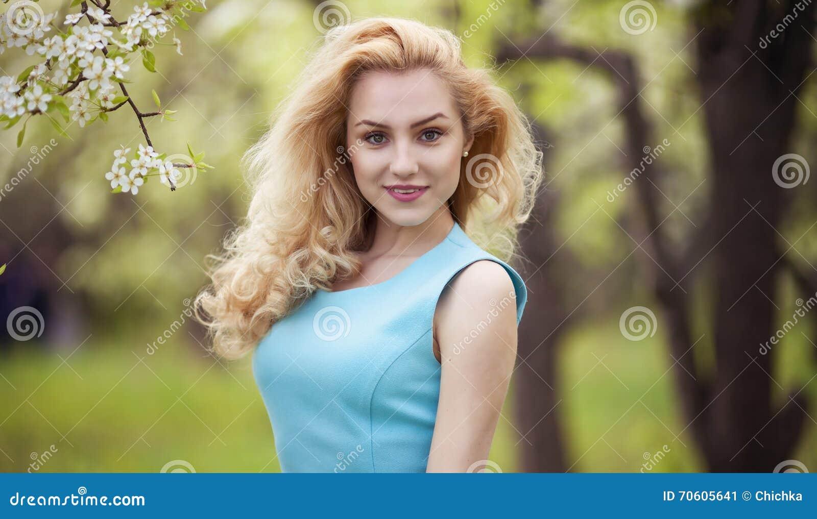 smiling girl natural beauty lovely female walking spring