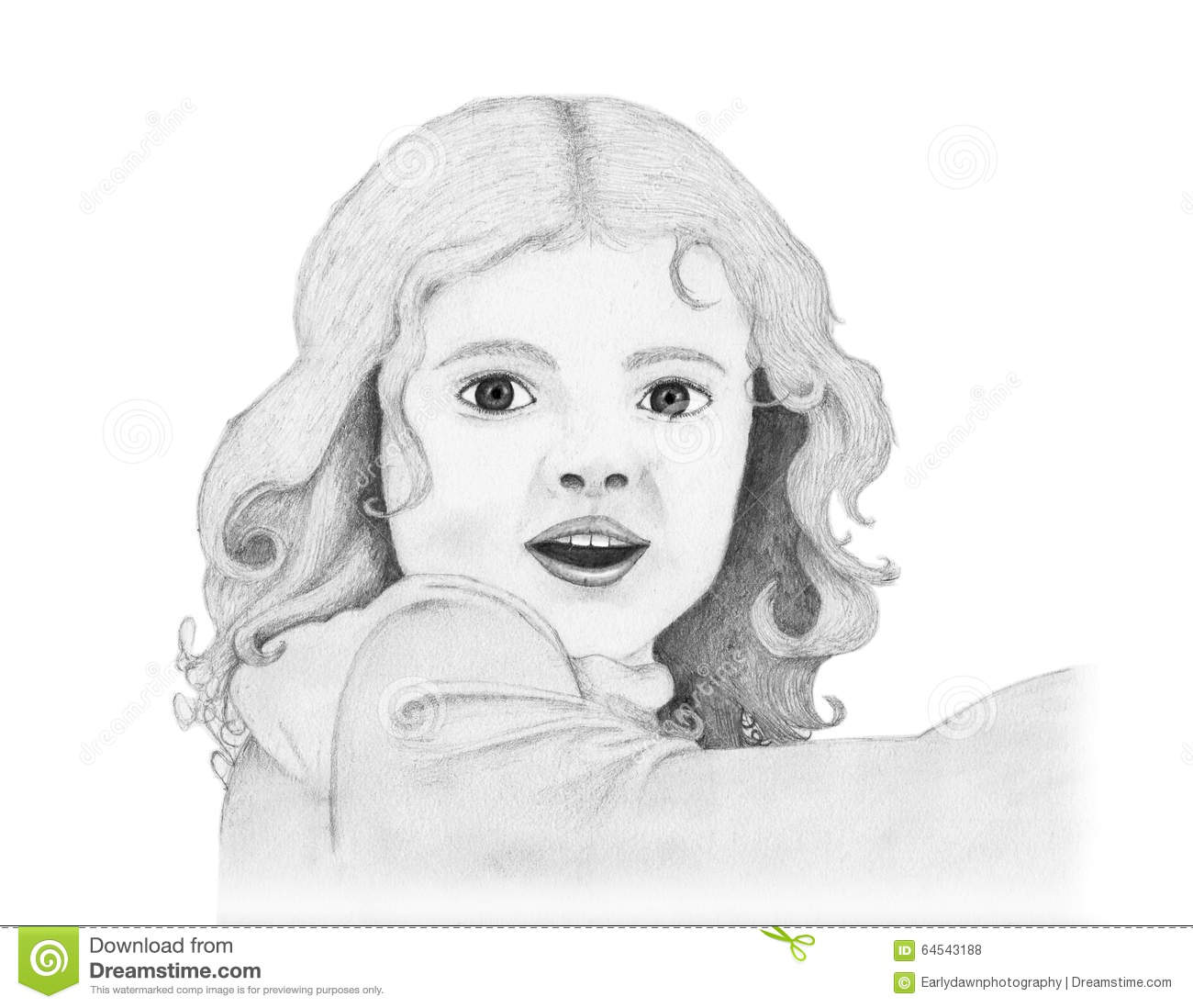 Smiling Girl Pencil Drawing Stock Illustration Image