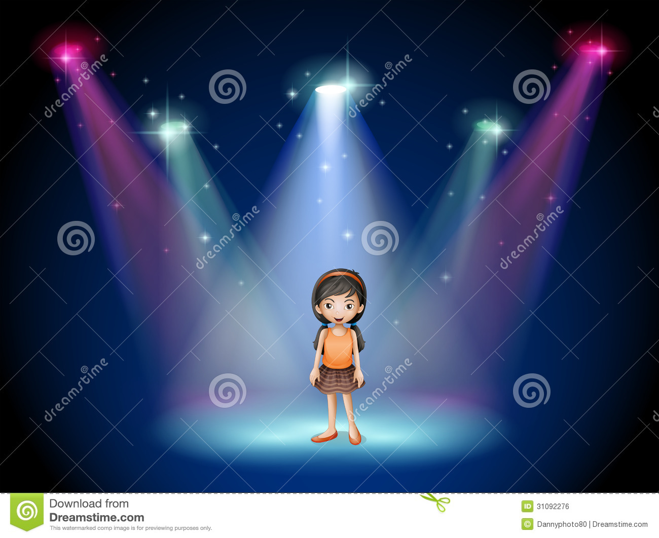 a smiling girl standing on the stage with spotlights