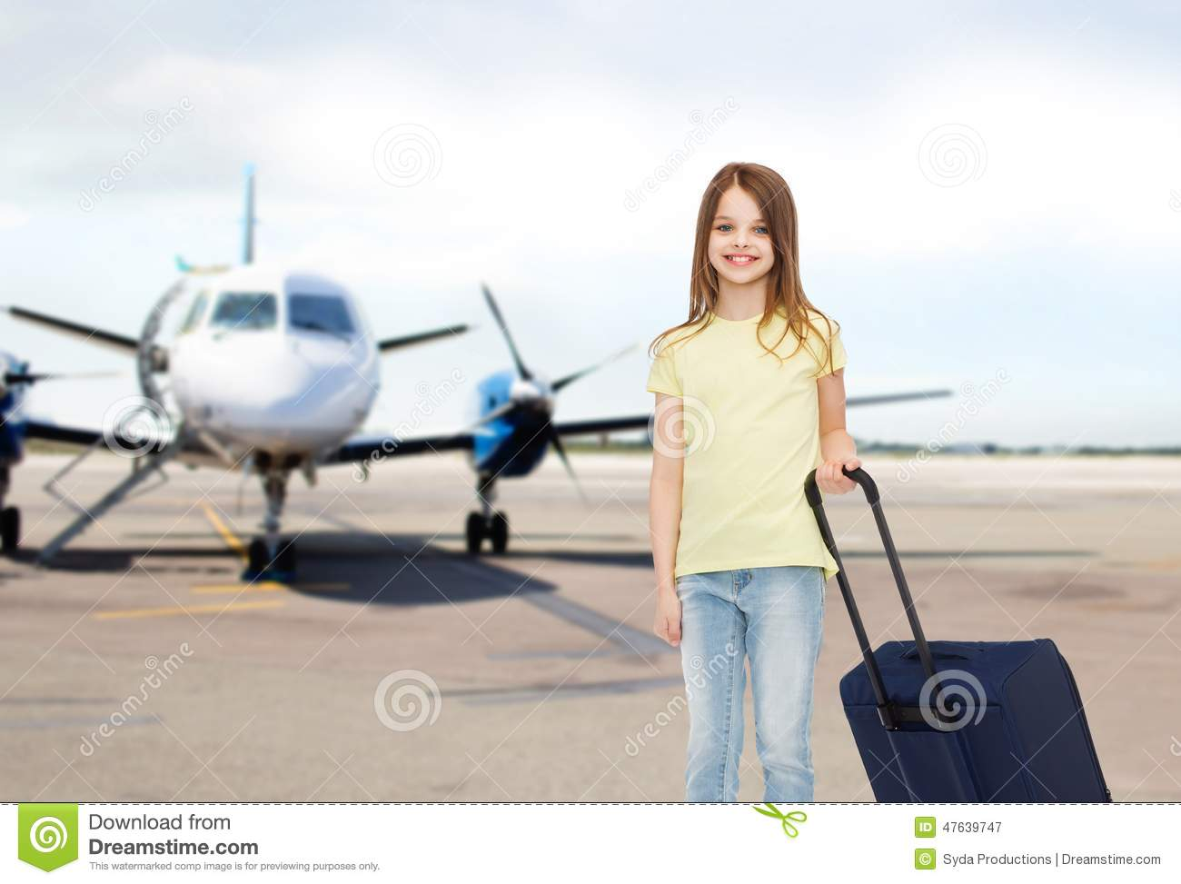 Smiling Girl With Travel Bag In Airport Stock Image