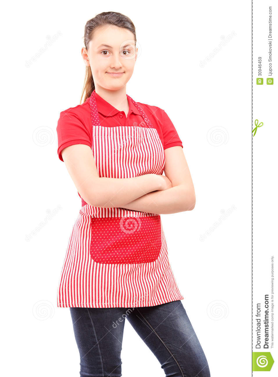 White apron girl - Smiling Girl Wearing An Apron And Looking At Camera