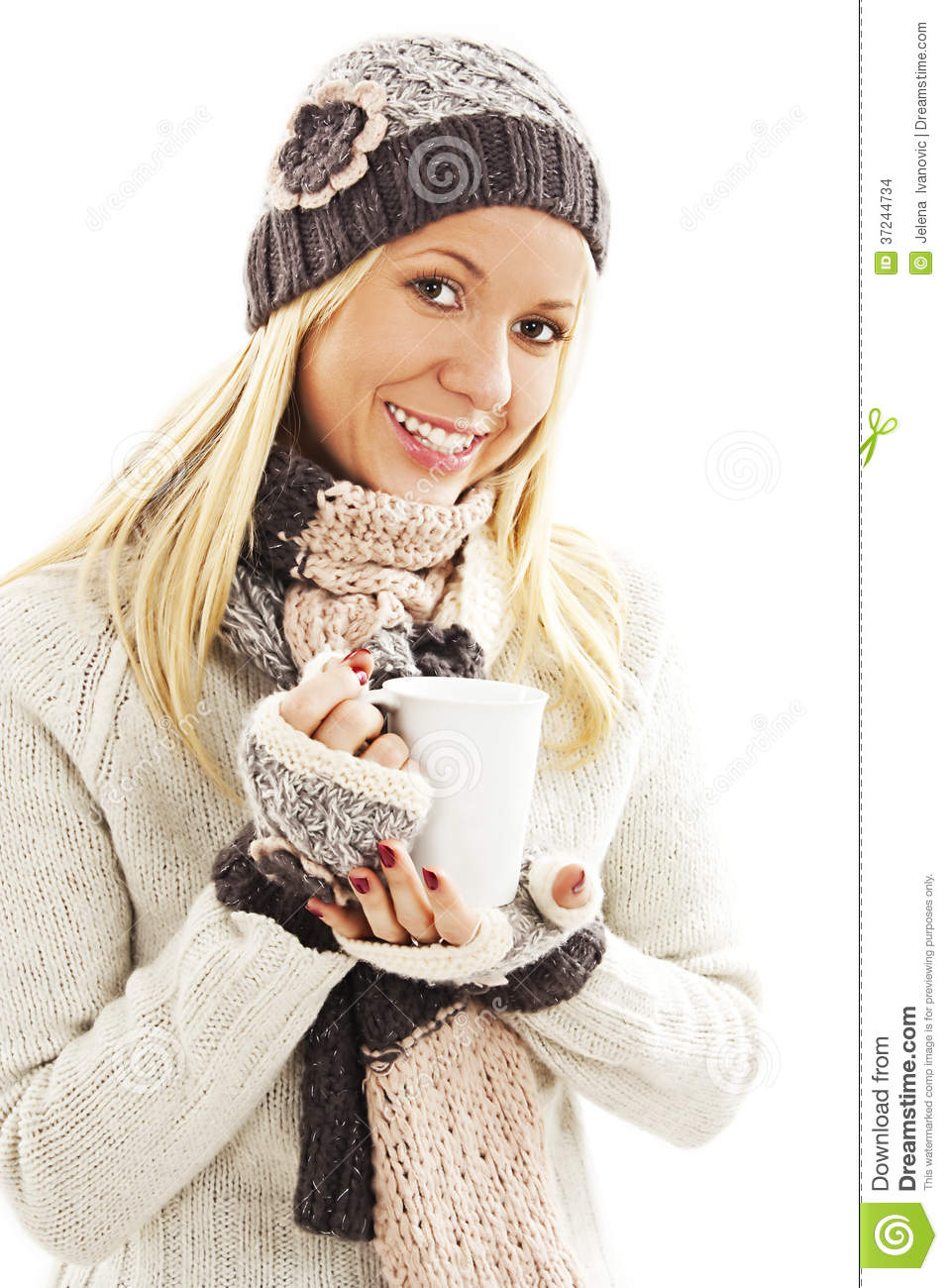 b0a7ab9c1db9 Smiling Girl In Winter Clothes With A White Cup Of Hot Drink Stock ...