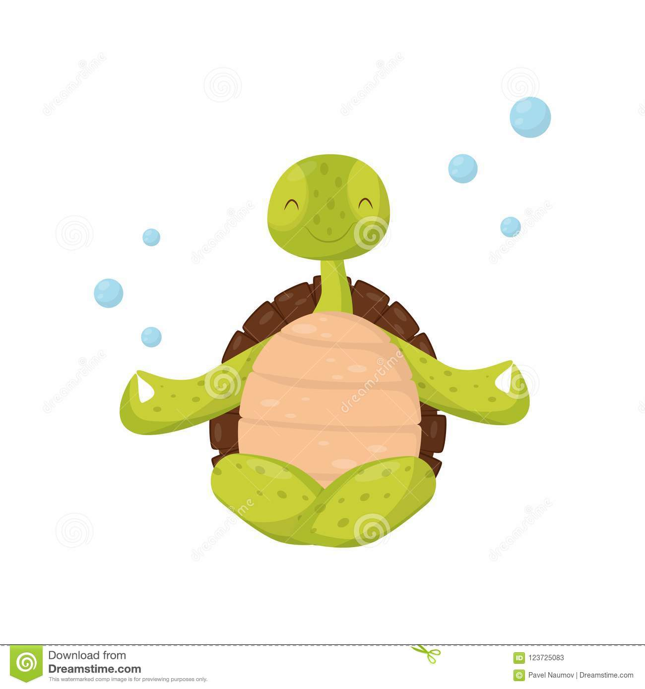 Smiling Green Turtle Sitting In Lotus Position Underwater Yoga