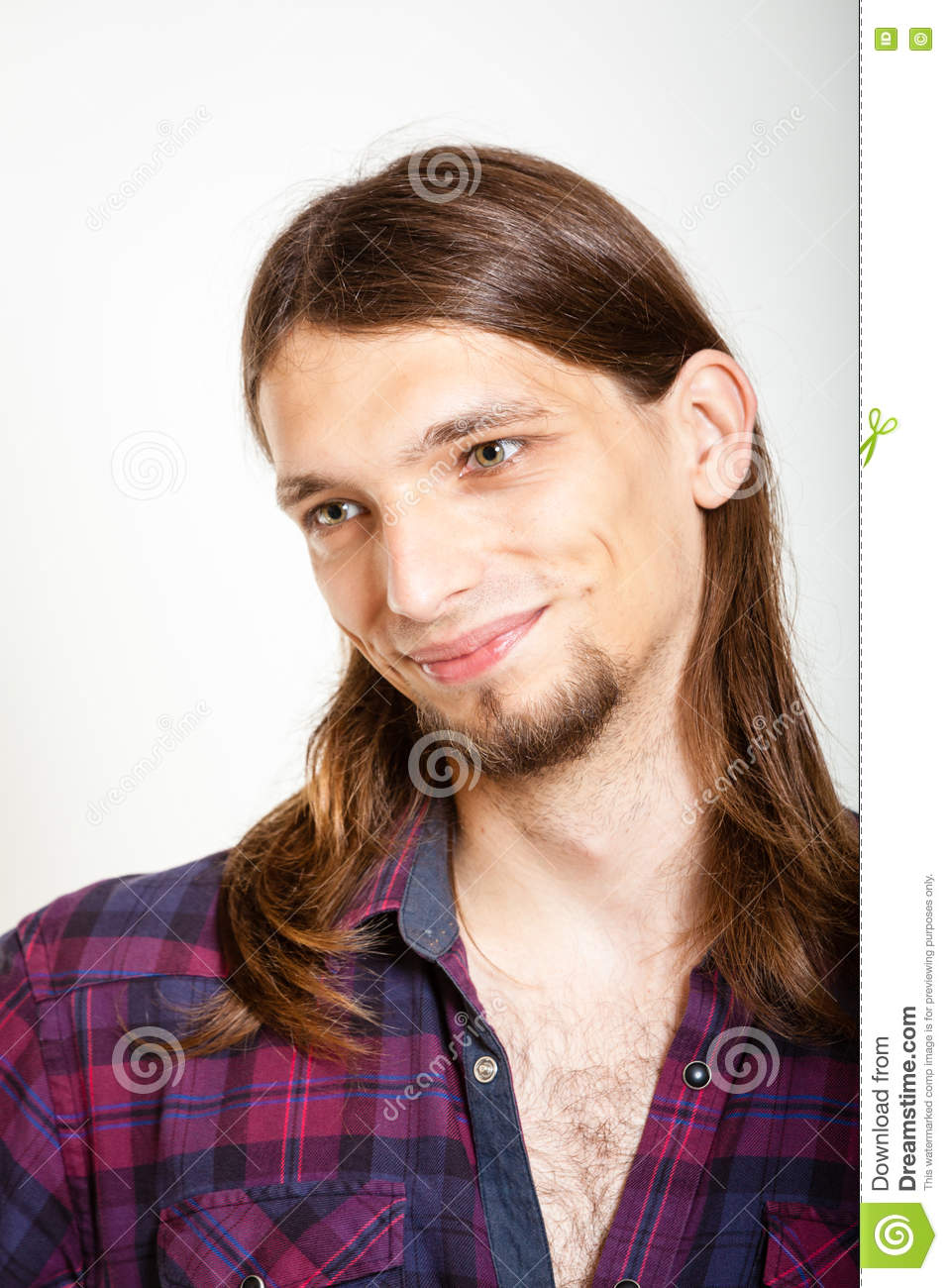 73293c55 Smiling Guy With Long Hairs. Stock Photo - Image of beard, calm ...