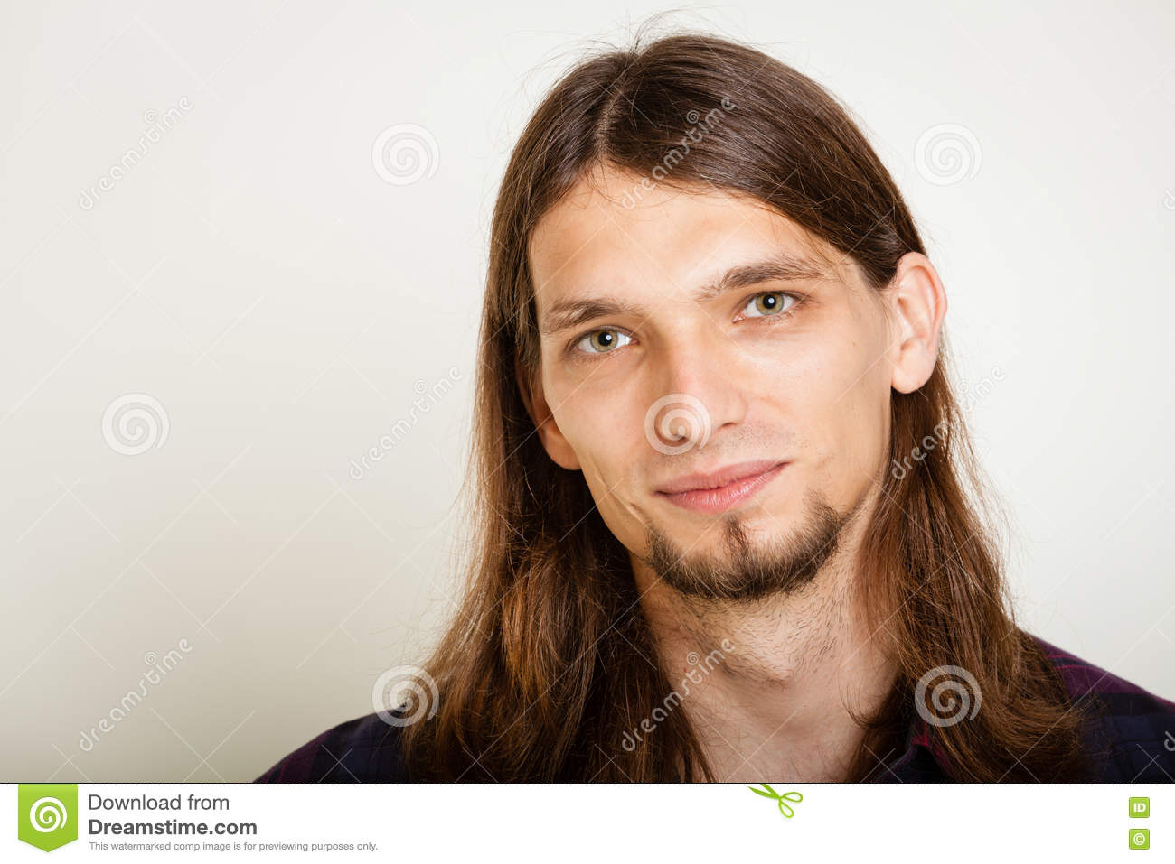 6677da3e Smiling Guy With Long Hairs. Stock Image - Image of youth, smile ...