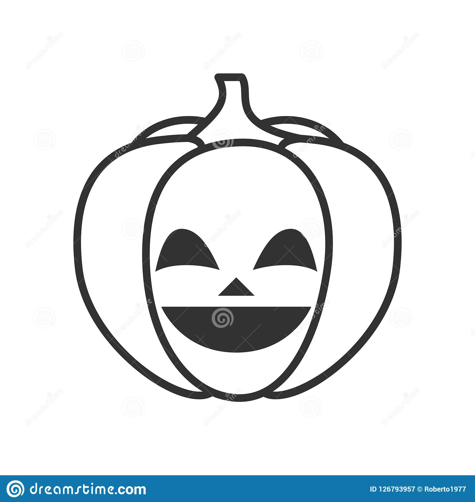 Happy Halloween Pumpkin Outline Flat Icon. Smiling Halloween pumpkin outline flat icon, isolated on white background. Eps file available Stock Illustration