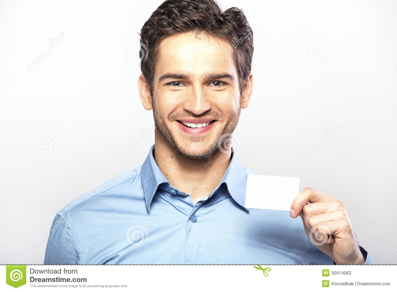 Smiling Handsome Guy With Business Card Stock Image - Image of ...