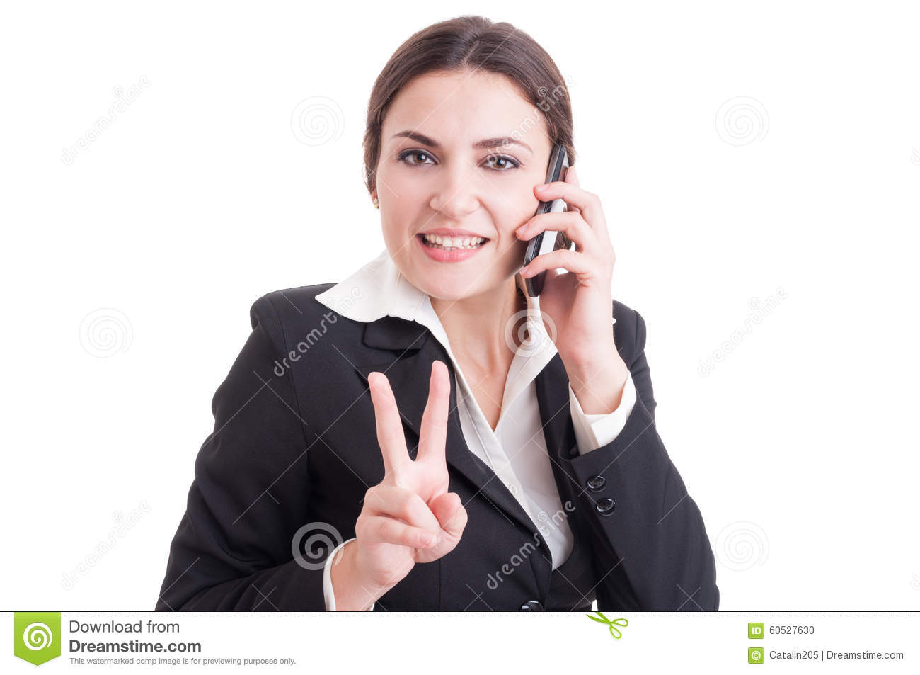 Smiling happy business woman showing victory or peace gesture
