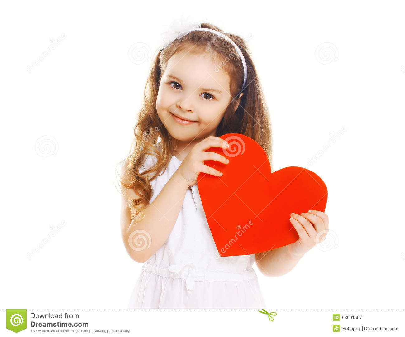 Smiling happy little girl with big red paper heart