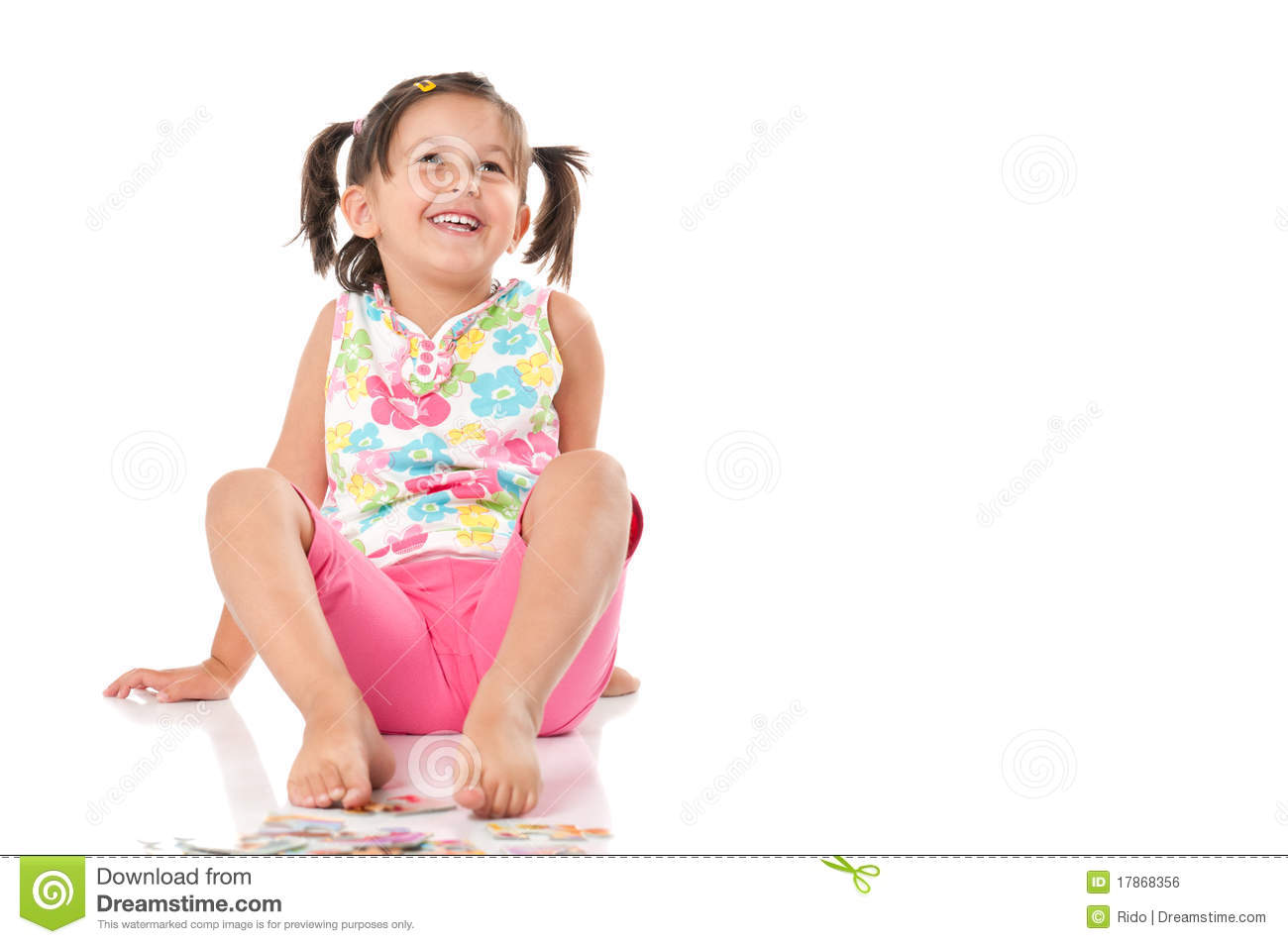 Smiling Happy Little Girl Sit Royalty Free Stock Image ...