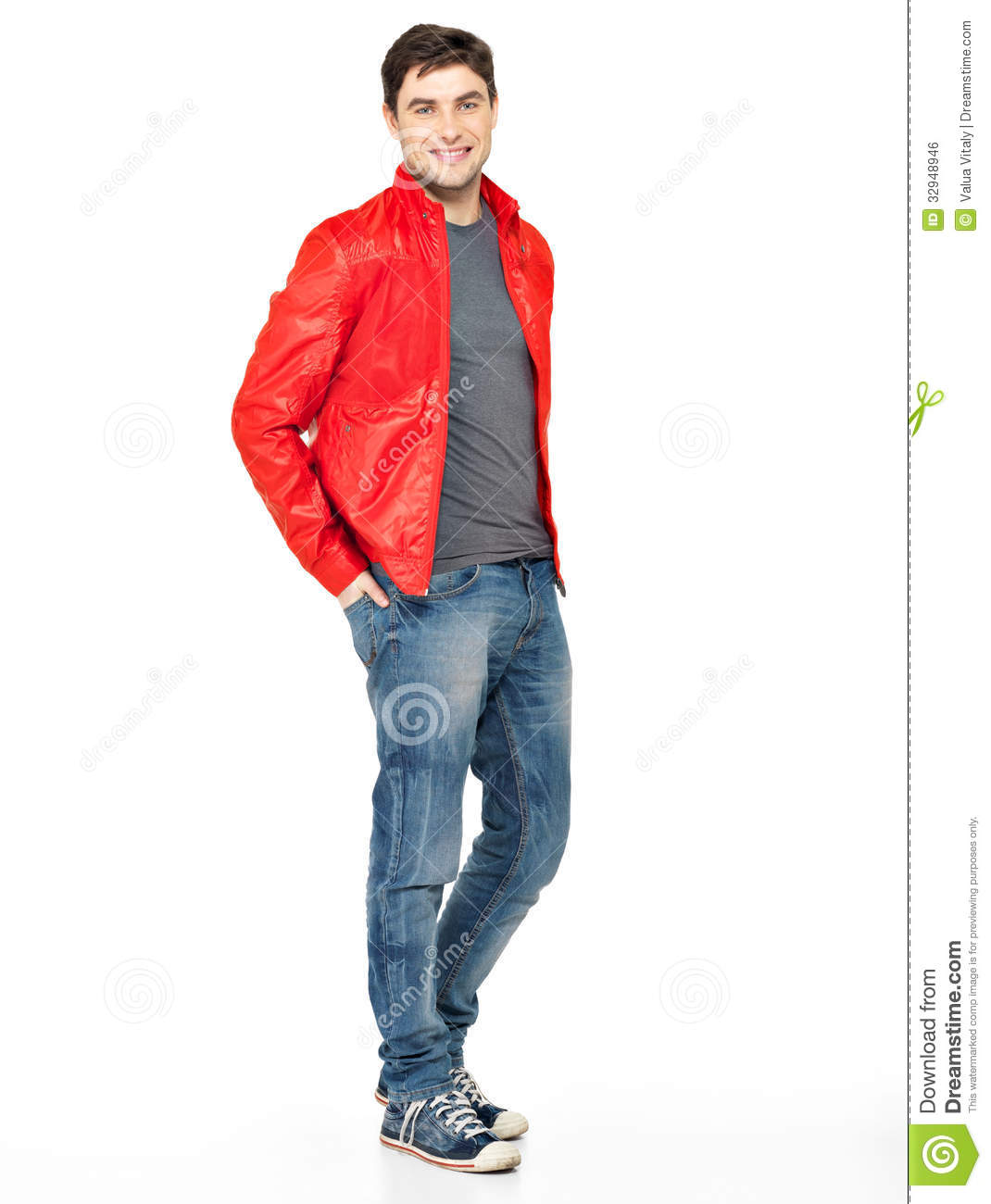 Smiling Happy Man In Red Jacket, Blue Jeans And Gymshoes. Royalty ...