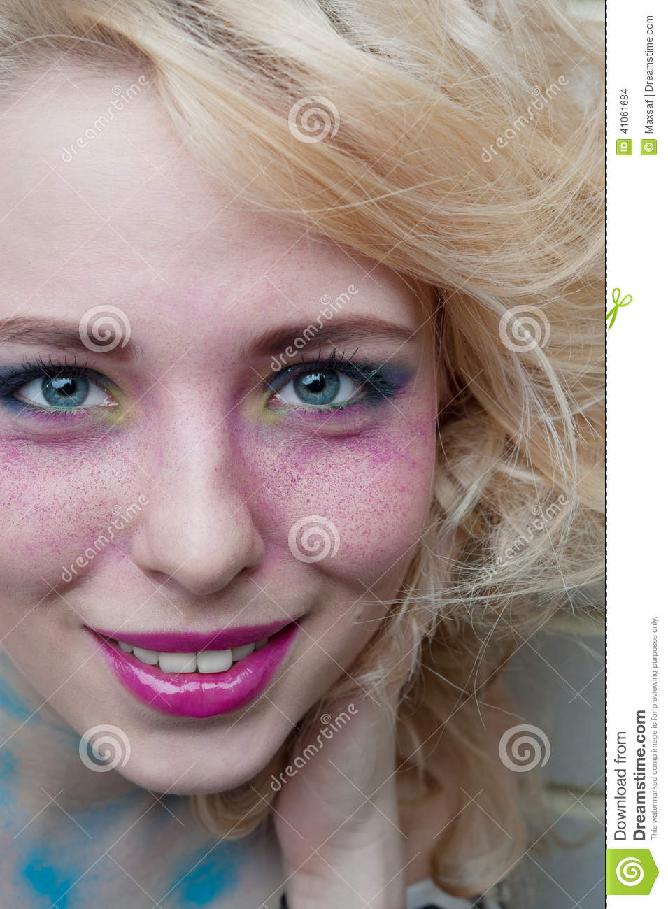 Professional Make Up Artist: Smiling Happy Woman. Professional Make-up. Blond Hair
