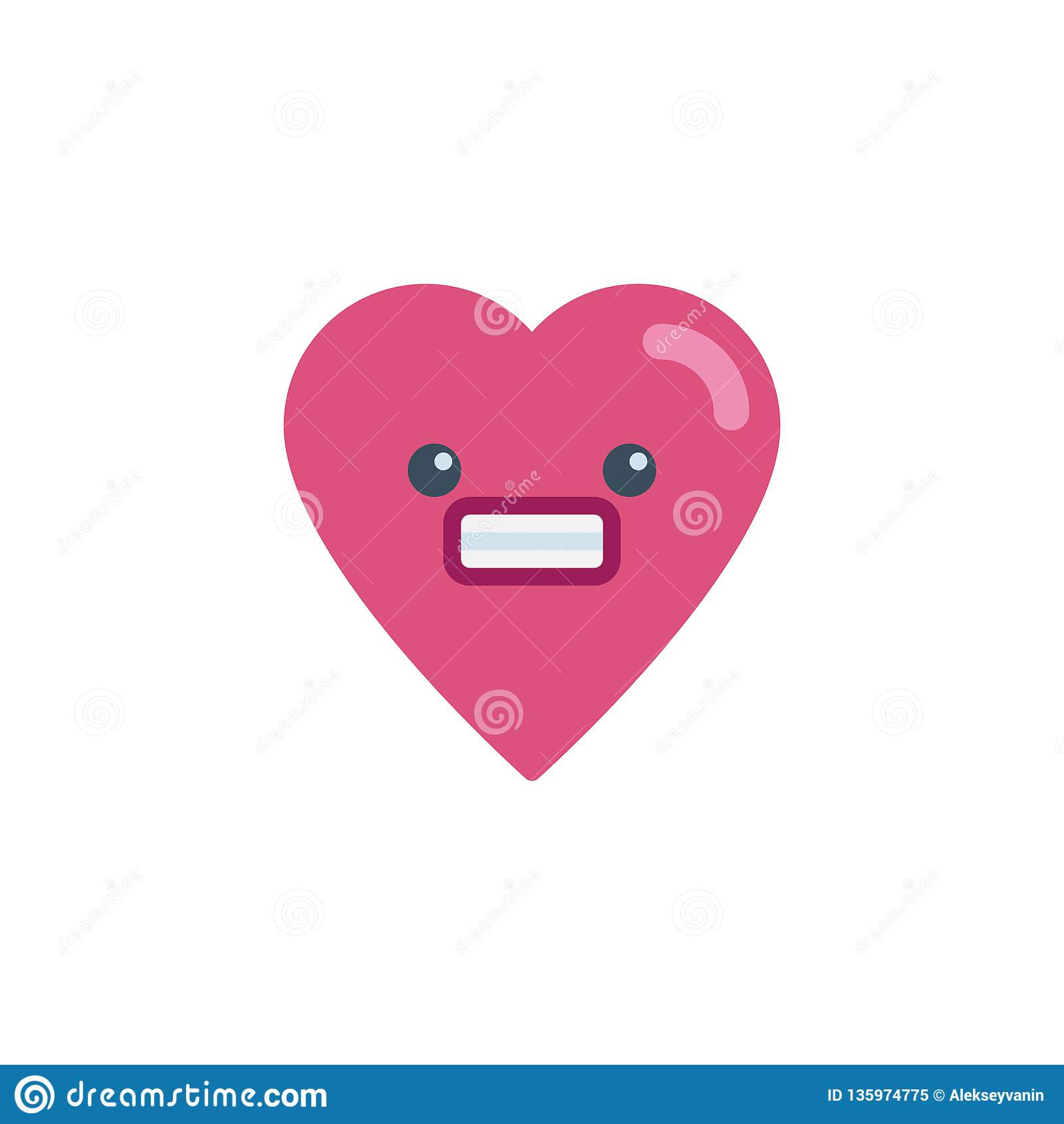Smiling Heart Face Character Emoji Flat Icon Stock Vector