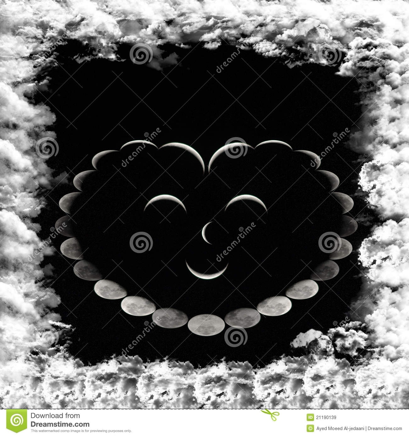 Smiling heart Of the phases of the moon