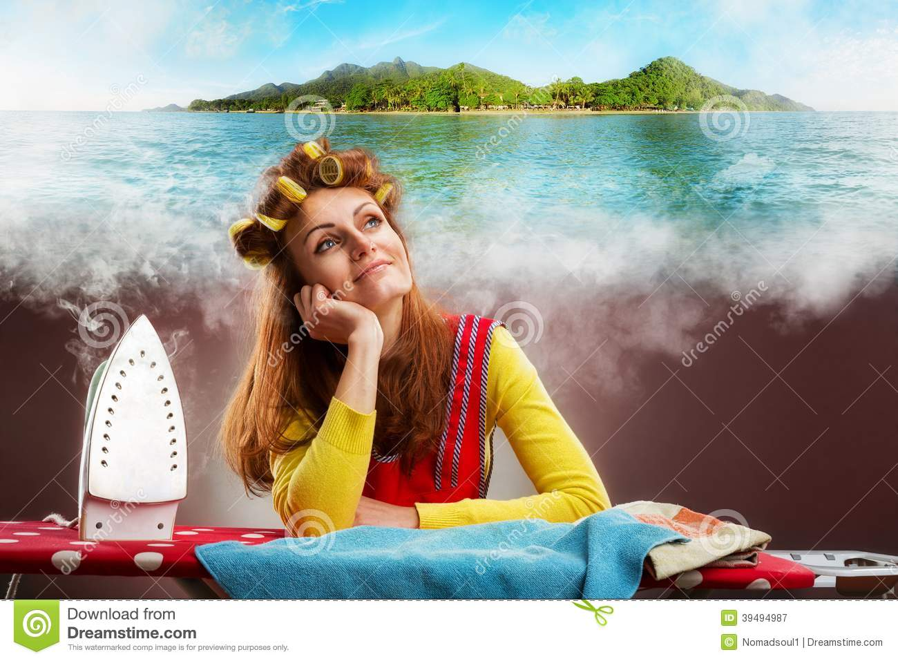 Download Smiling Housewife With Ironing-board Stock Image - Image of dream, beach: 39494987