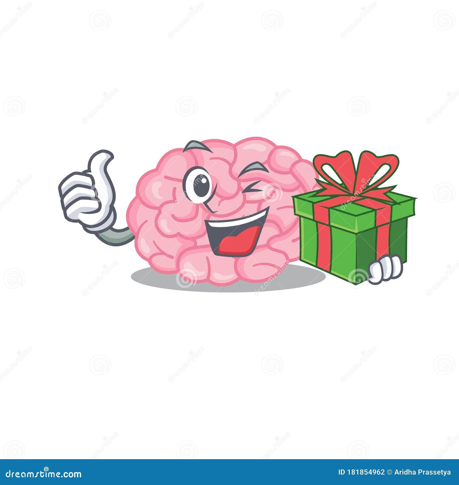 Smiling Human Brain Cartoon Character Having A Green Gift ...