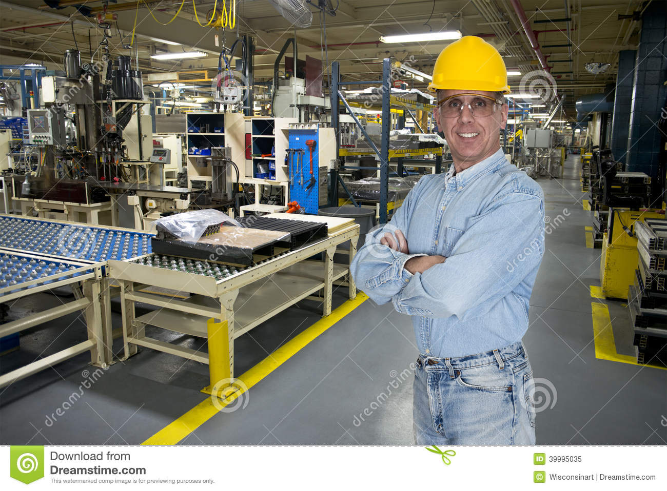 Smiling Industrial Manufacturing Factory Worker Stock Photo - Image ...