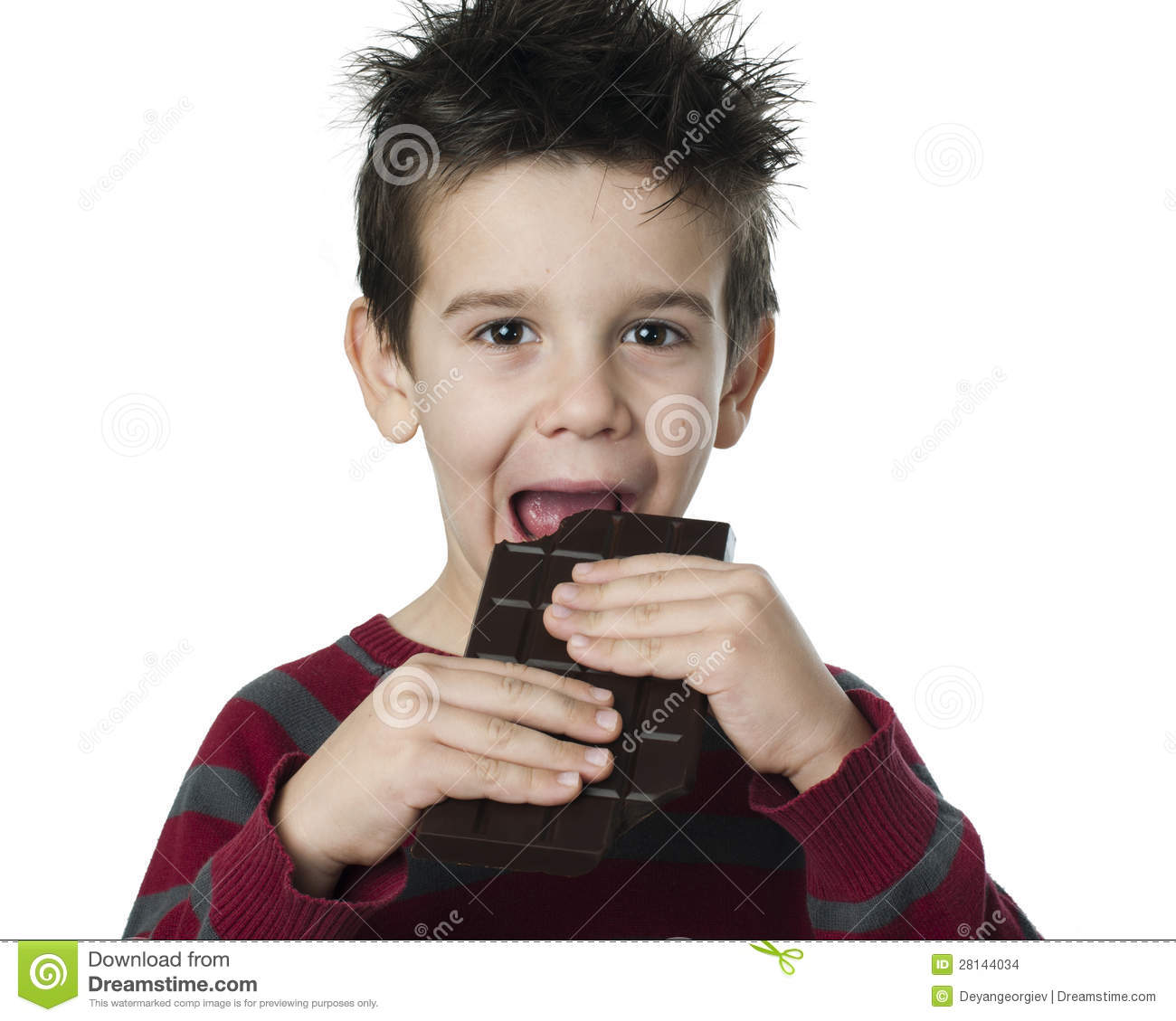 Smiling Kid Eating Chocolate Stock Images - Image: 28144034