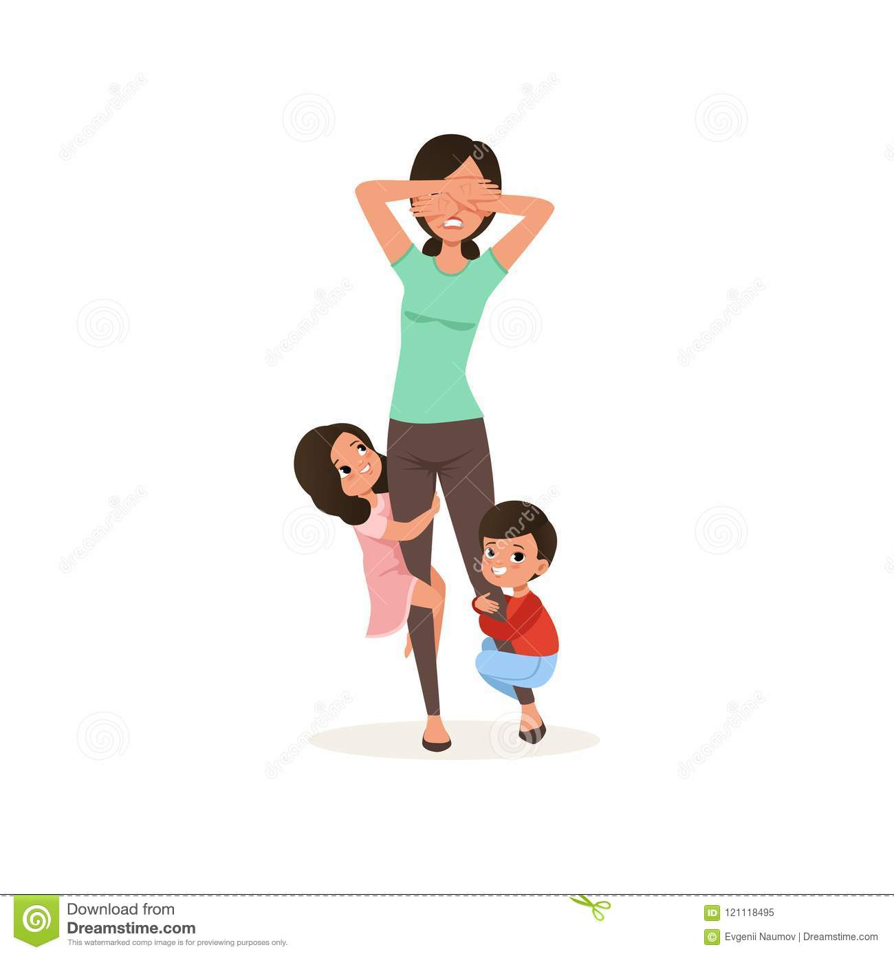 Smiling kids want to play with their tired mother, parenting stress concept, relationship between children and parents
